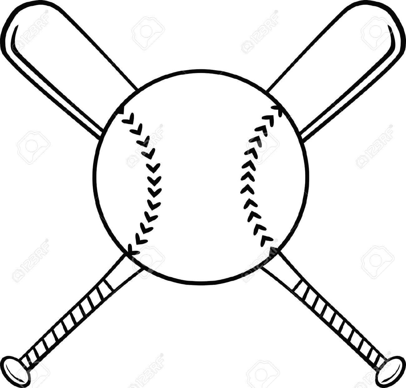 Crossed baseball black and. Bats clipart line art