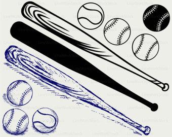 Bat clipart line art. Etsy baseball svgbaseball ball