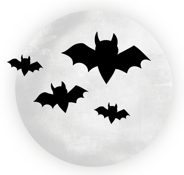 Large transparent moon with. Clipart halloween bat