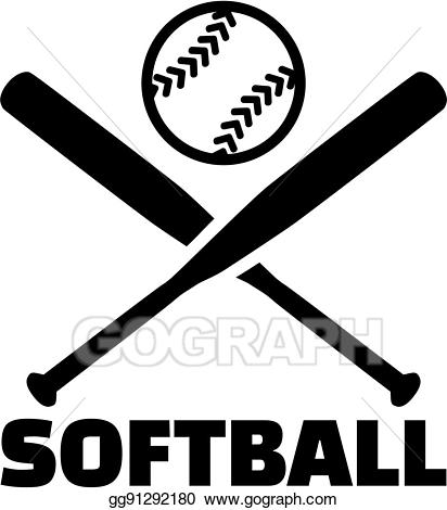 Bats clipart vector. Illustration softball with crossed