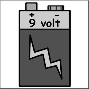 Clip art electricity grayscale. Battery clipart 9 volt