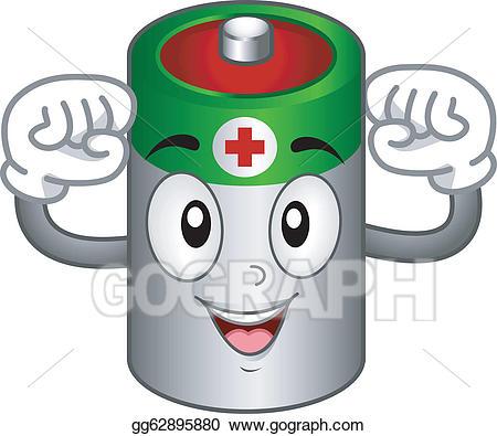 Vector mascot illustration . Battery clipart batery