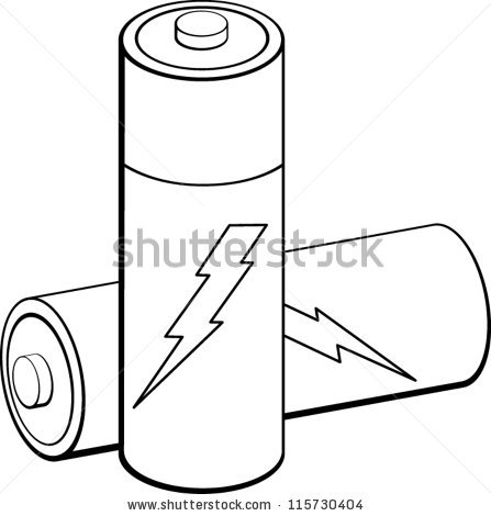 Station . Battery clipart black and white
