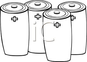 Picture four batteries . Battery clipart black and white