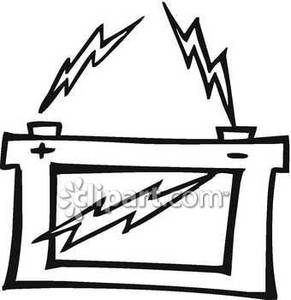 Battery clipart black and white. Zapping car royalty free
