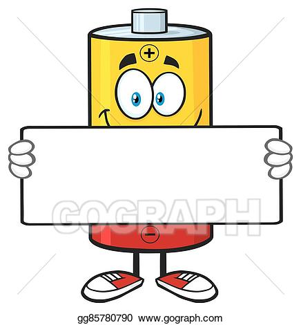 Vector holding a blank. Battery clipart cartoon