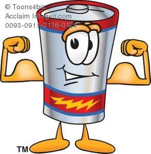 Battery clipart cartoon. Flexing