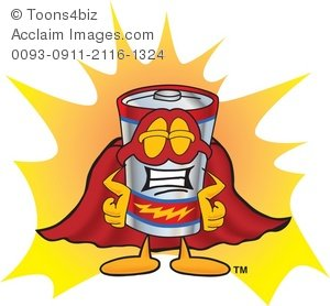Super hero . Battery clipart cartoon