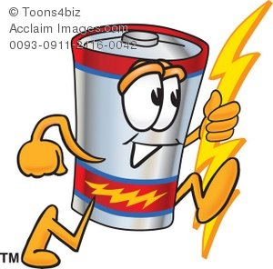Running . Battery clipart cartoon