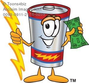 Battery clipart cartoon. Holding money