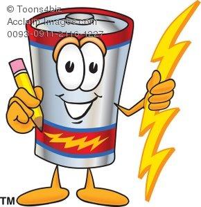 Holding a pencil . Battery clipart cartoon