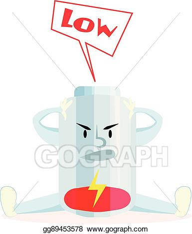Battery clipart comic. Eps illustration cartoon charge