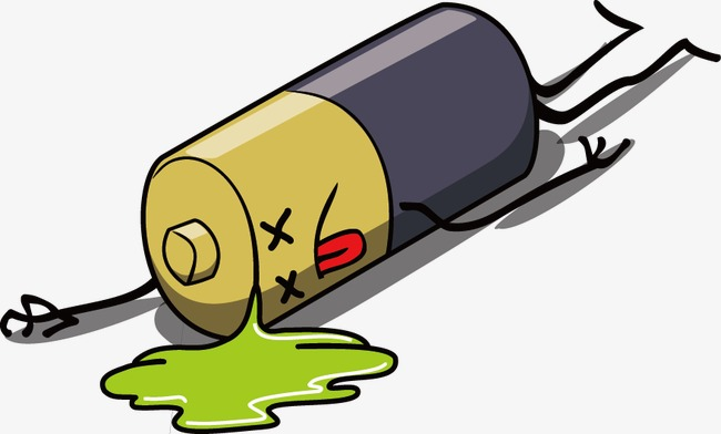 Vector painted a leakage. Battery clipart dead battery