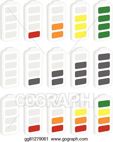 Battery clipart energy level. Vector art indicator symbol