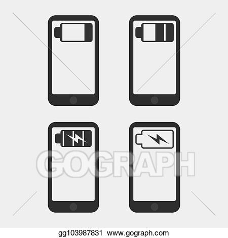 Battery clipart phone battery. Vector art mobile drawing