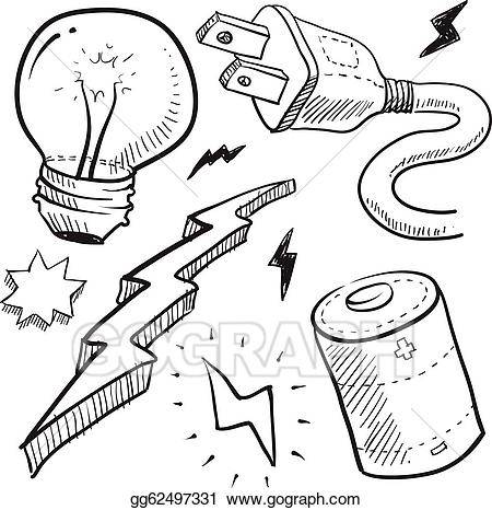 Battery clipart sketch. Vector art electricity objects