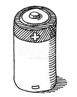 Battery clipart sketch. Baby cell drawing stock
