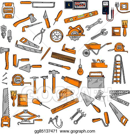Battery clipart sketch. Eps vector hand tools