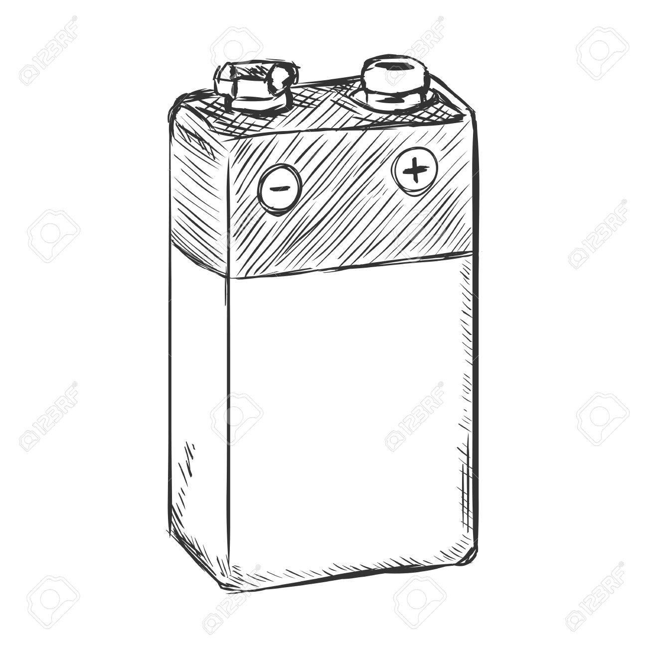 battery clipart sketch
