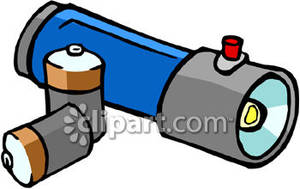 Flashlight with two batteries. Battery clipart strong battery