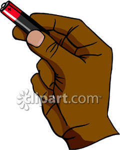 Battery clipart strong battery. Hand holding a royalty