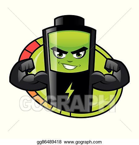 Vector stock illustration . Battery clipart strong battery