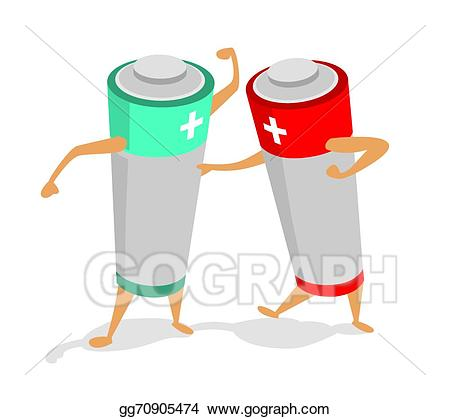 Vector batteries in a. Battery clipart two