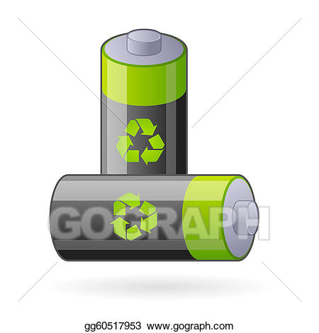 Battery clipart two. Vector illustration green eco