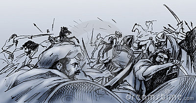 Battle clipart ancient battle. War pencil and in