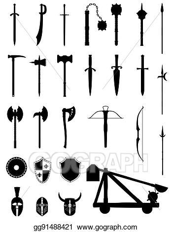 Stock illustration weapons set. Battle clipart ancient battle