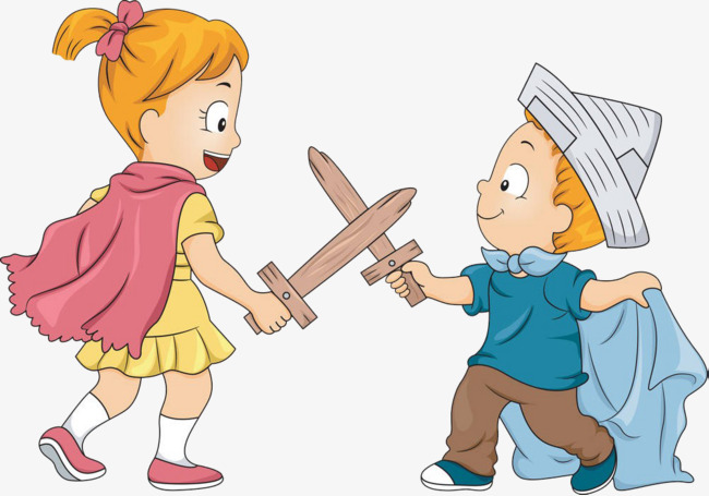 Two children fight child. Battle clipart animated
