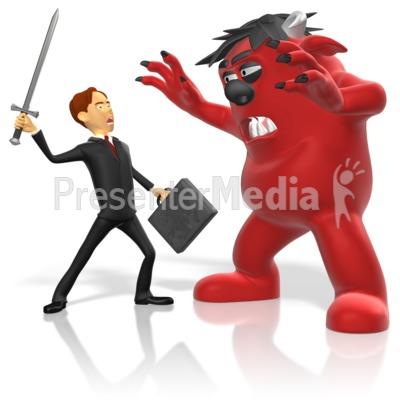Businessman sword fight monster. Battle clipart animated