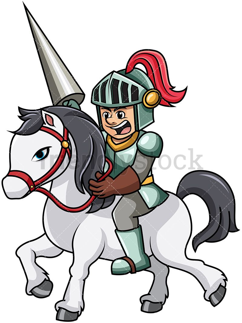 Knight charging with horse. Burglar clipart medieval