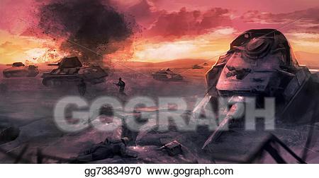 Battle clipart battle scene. Stock illustration tank war