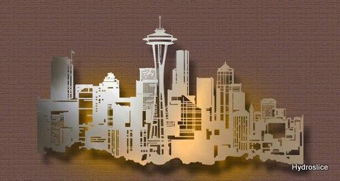 Battle clipart cityscape. Seattle skyline metal art