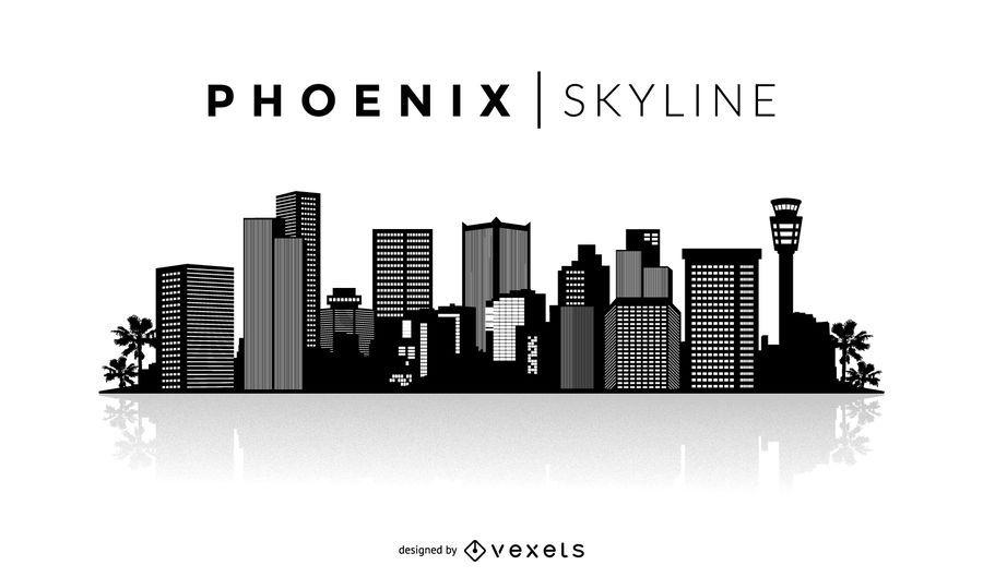 Phoenix skyline silhouette skylines. Battle clipart cityscape