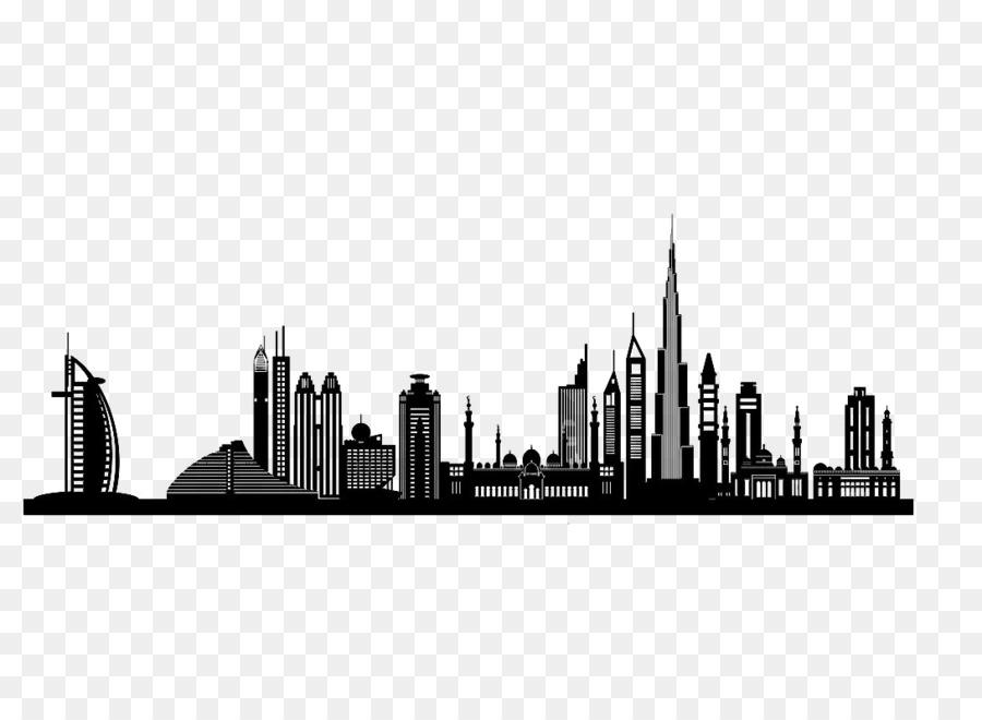 Dubai silhouette skyline clip. Battle clipart cityscape