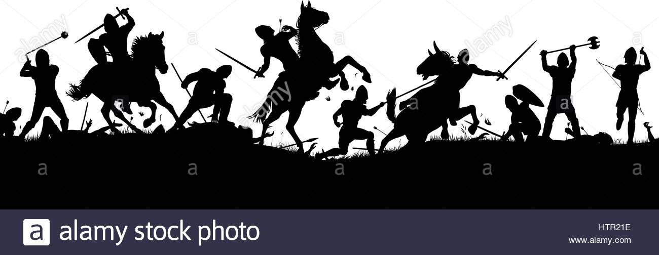 Battle clipart medieval army.
