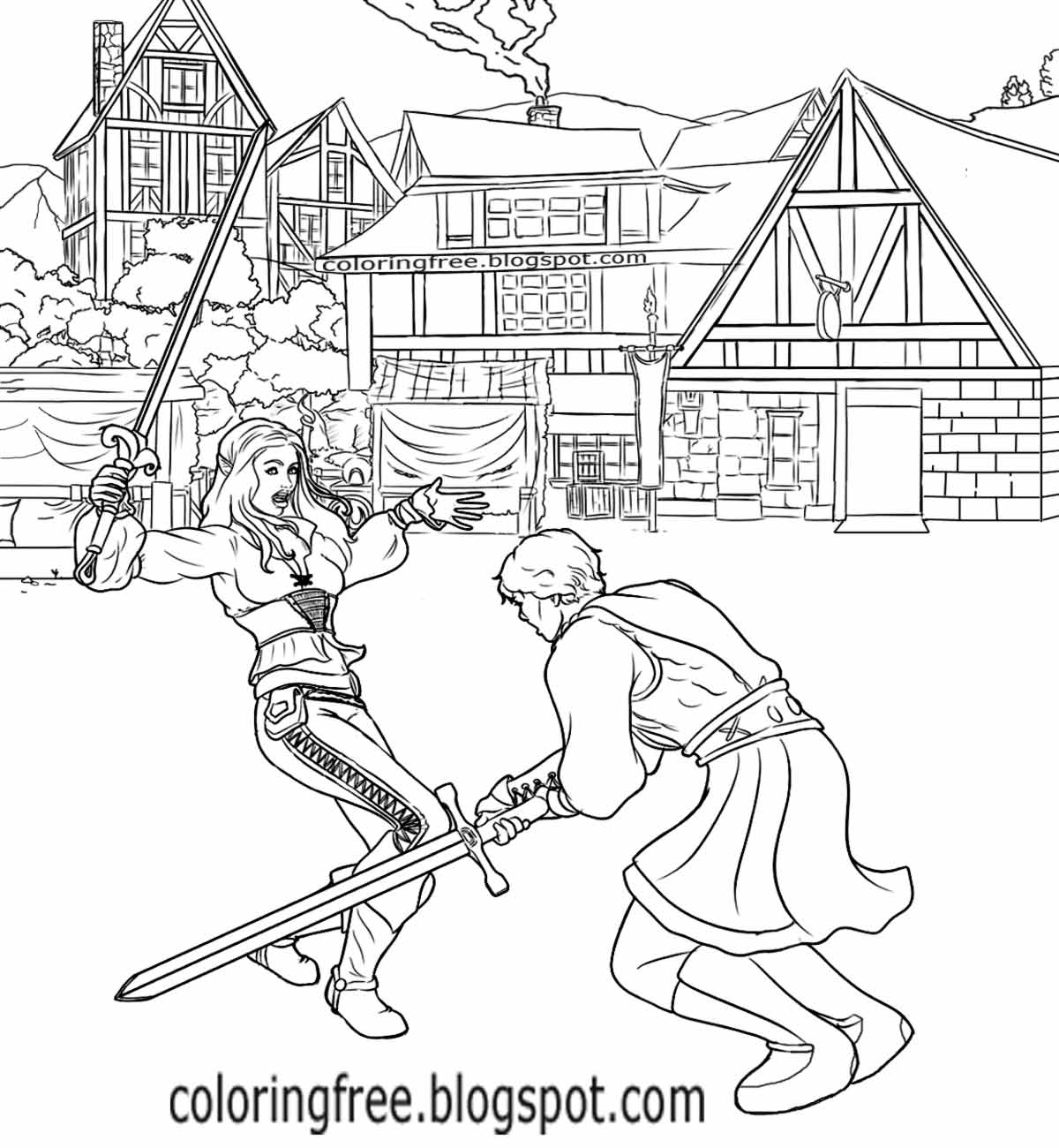 Free coloring pages printable. Battle clipart medieval war