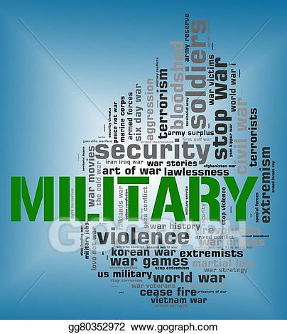Word shows armed forces. Battle clipart military