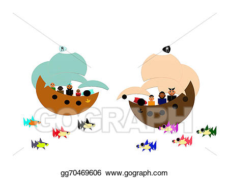 Stock illustration two ships. Battle clipart pirate ship