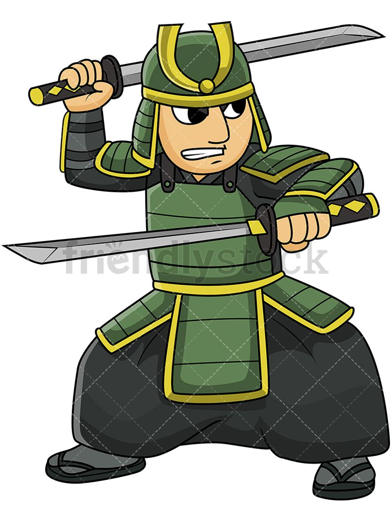 Japanese bushi dual wielding. Warrior clipart old soldier