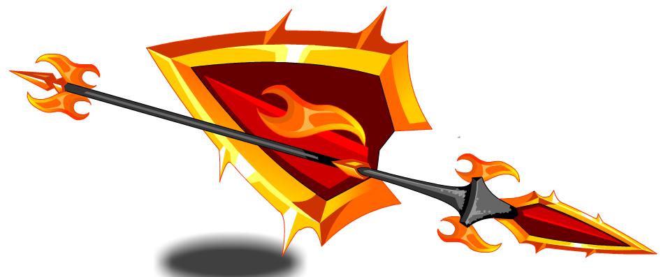 Lava and shield aqw. Battle clipart spear