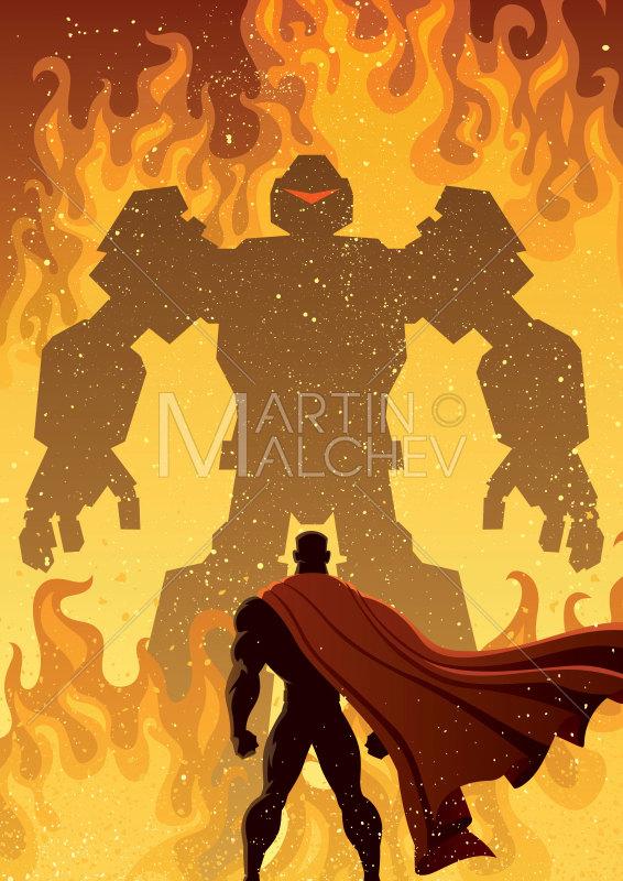 Versus robot vector cartoon. Battle clipart superhero