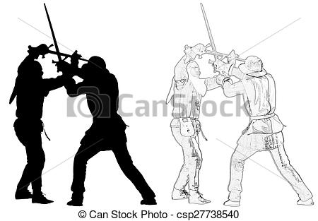 Photos drawings of knights. Battle clipart sword fight