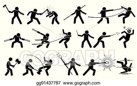 Vector illustration man using. Battle clipart war fighting