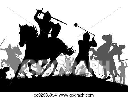 Vector illustration stock clip. Knight clipart medieval war