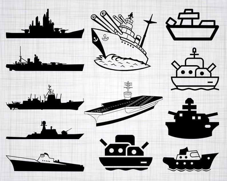 Svg bundle cut files. Battleship clipart