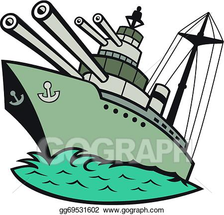 Vector stock world war. Battleship clipart comic