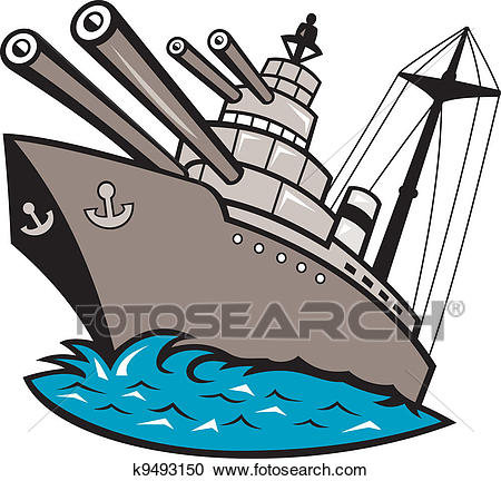Battleship clipart comic. Of warship boat with